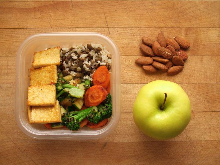 sweet chili tofu, lentils & brown rice, stir fried broccoli, zucchini ...