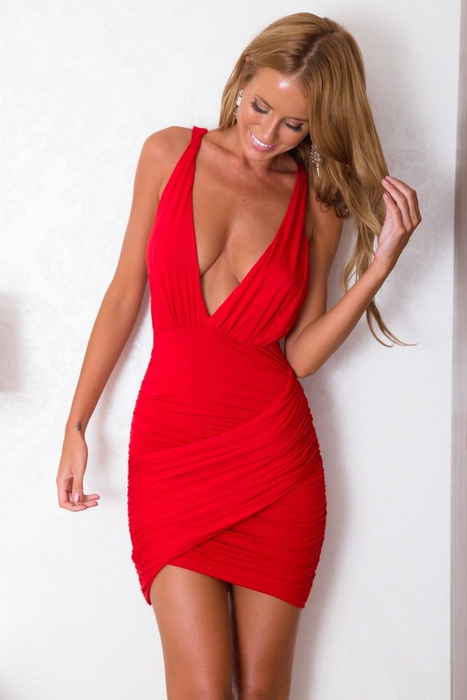 Sexy red dress with low cut v and crisscross back