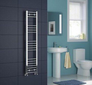 Chrome Heated Straight Rail Ladder Towel Rail - 1400x300mm [PT-NS1400300] - £93.49 : Platinum Taps & Bathrooms