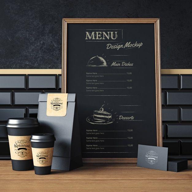 Restaurant elements mock up design Free Psd