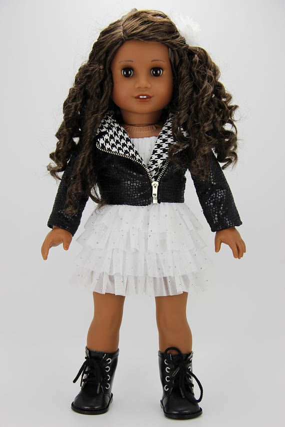 Handmade 18 inch doll clothes Black and white 3 piece