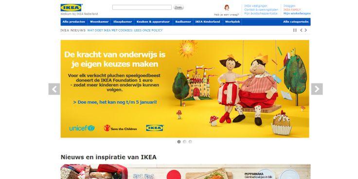 IKEA heeft een duidelijke huisstijl. Met kreten en acties lokken ze je tot verder kijken. De online webshop is zeer uitgebreid en dat maakt het interessant tot kopen.