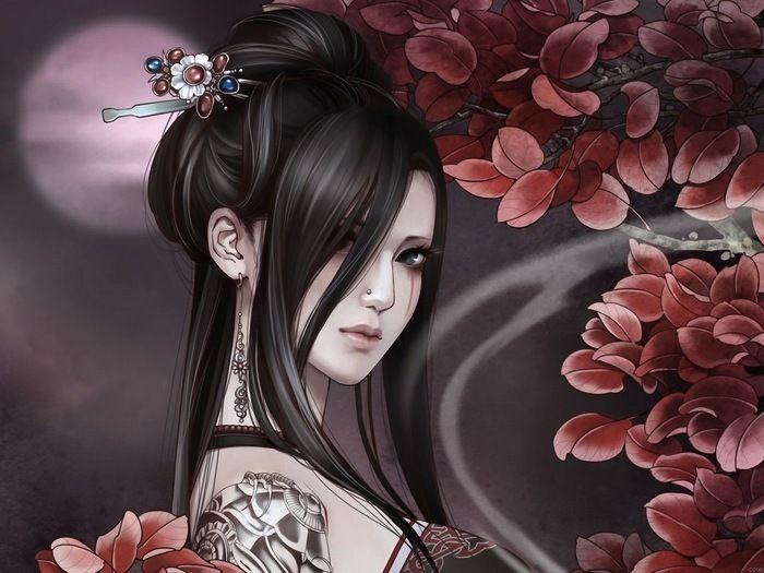 Chaude Fille De Tatouage Pétales Anime Art Silk Affiche Art Chambre Décoration 1154(China (Mainland))