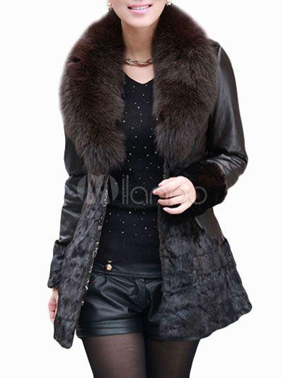 Pelliccia nera elegante lussuosa aderente in pelle con maniche lunghe - Milanoo.com