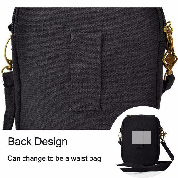 Woman National Floral Canvas 5.5 Inches Phone Bag Casual Crossbody Shoulder Bag - US$9.72