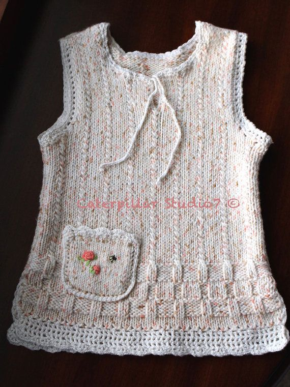 Hand  Knitted Toddler Girl Vest/Tunic with by CaterpillarStudio7