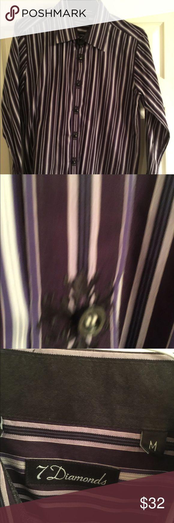 Men's 7 Diamonds Dress Shirt Men's medium 7 Diamonds dress shirt.  Deep purple with multi color stripes of blue grey yellow.  Detail accent on the buttons. 7 Diamonds Shirts Dress Shirts