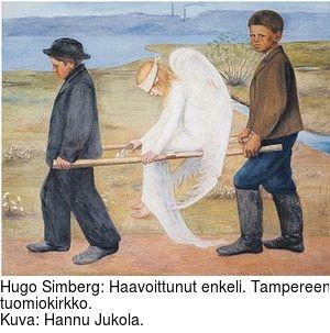 Hugo Simberg: Haavoittunut enkeli. Tampereen tuomiokirkko. Kuva: Hannu Jukola.