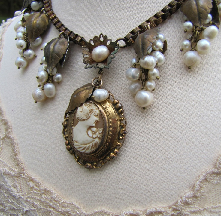 239 best vintage cameo jewelry images on pinterest cameo jewelry genuine shell cameo refashioned vintage pendant necklace freshwater pearls antique brass leaves aloadofball Choice Image