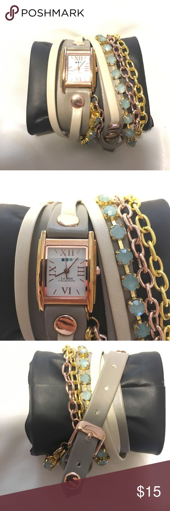 La Mer Collections Watch Perfect condition! Wrap around watch. Grey/cream/gold/turquoise tones. Used but in awesome condition. Needs a battery. La Mer Accessories Watches
