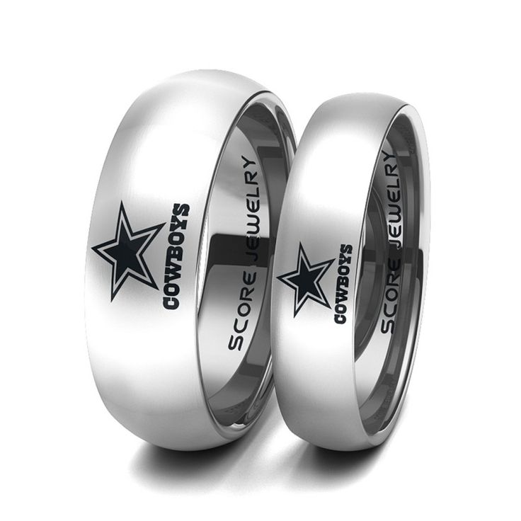 ************ANY TEAM************ 2 Piece Couple Set 8mm & 6mm Silver Tungsten Bands with Domed Edge NFL Football Dallas Cowboys Logo Laser Engraved Ring