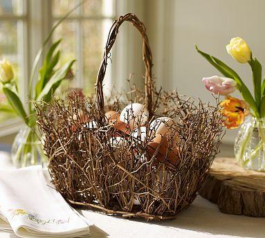 Creating Twig Easter BasketsDecor Ideas, Eggs Baskets, Easter Decor, Twig Baskets, Spring Baskets, Easter Baskets, Pottery Barn, Baskets Ideas, Easter Ideas