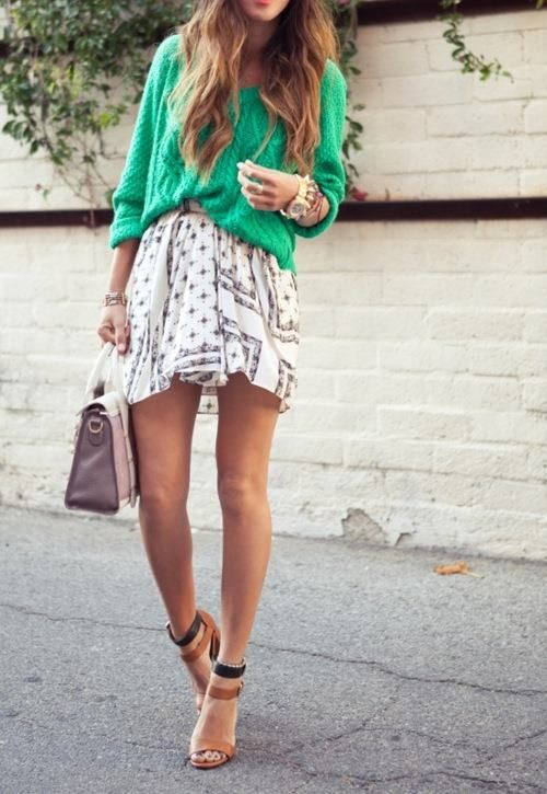 Skirts, Chunky Sweaters, Summer Style, Outfit, Slouchy Sweater, Kelly Green, Knits Sweaters, Chunky Knits, Style Fashion