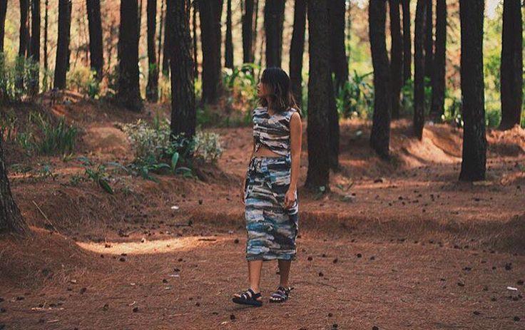 Camouflage Crosstop combine with Simpang Skirt. All by IMAJI Studio