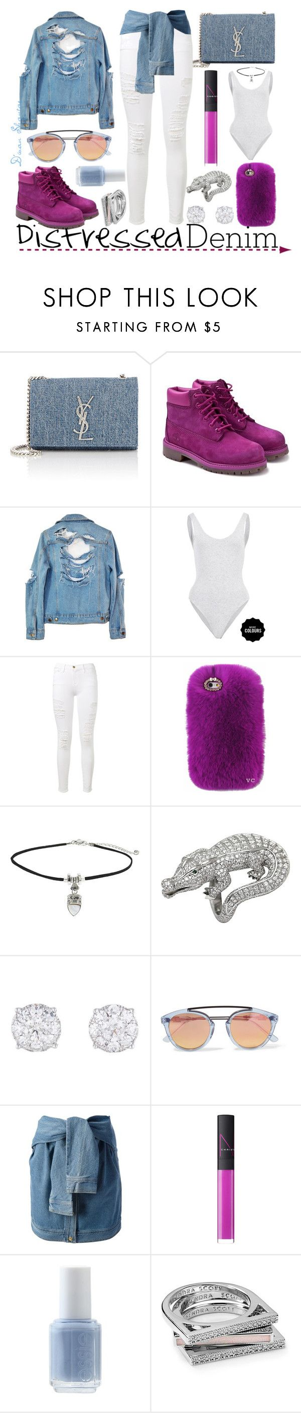 """""""How To Style Distressed Denim"""" by adswil ❤ liked on Polyvore featuring Yves Saint Laurent, Timberland, High Heels Suicide, Frame Denim, Topshop, Cartier, Westward Leaning, DKNY, NARS Cosmetics and Essie"""