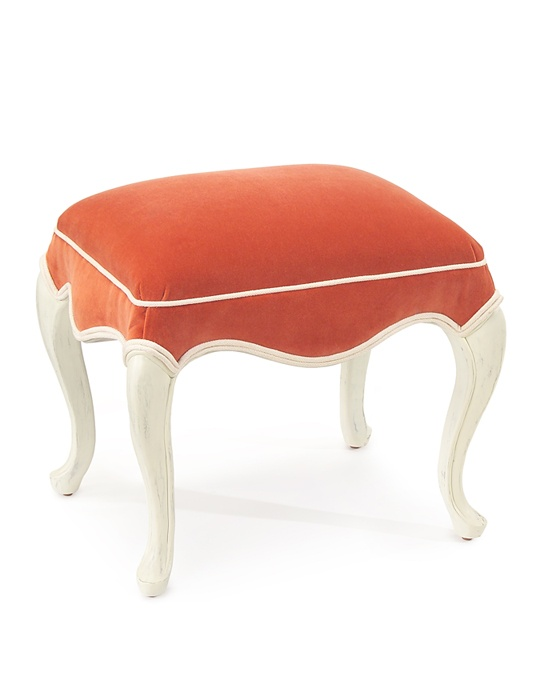 Deep Coral Velvet Accent Ottoman Design Is Never Done