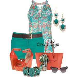 Summer Shorts teal and orange very cute summer style