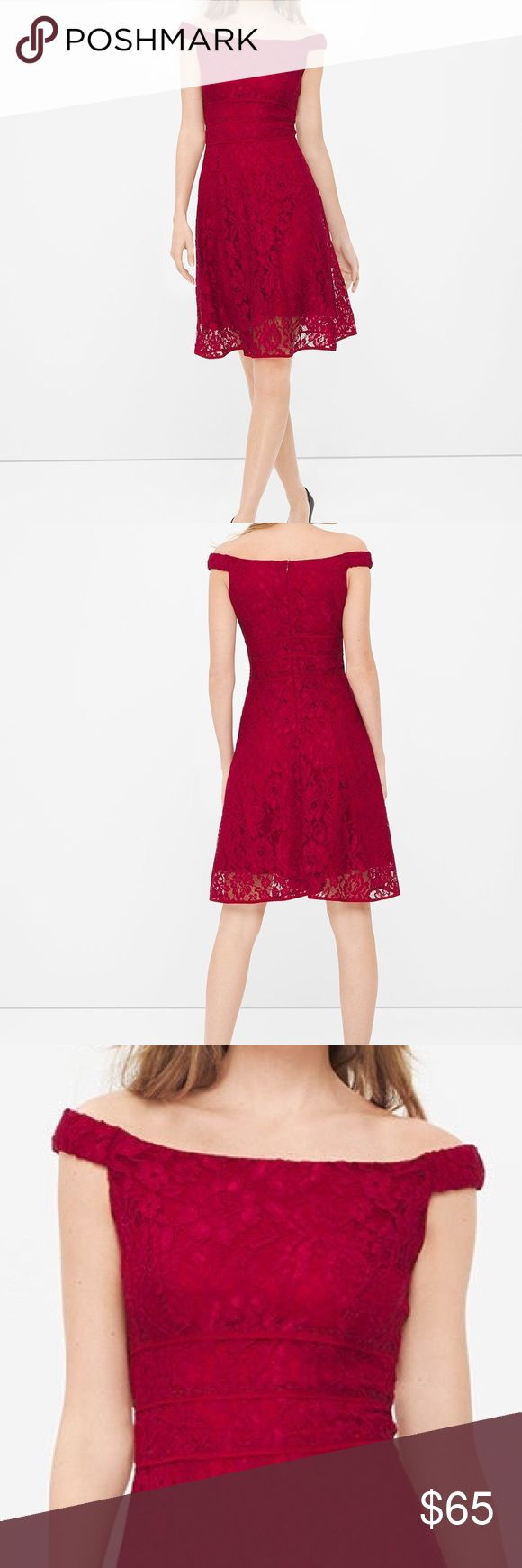 """OFF-THE-SHOULDER LACE FIT-AND-FLARE DRESS Never worn....Red off-the-shoulder lace fit-and-flare dress with elasticized shoulder straps and lined. Triple waist-defining details. Invisible back zip with hook-and-eye closure. Approx. 39"""" from shoulder; hits at the knee. Nylon/rayon/polyester/spandex. Machine wash cold. White House Black Market Dresses"""
