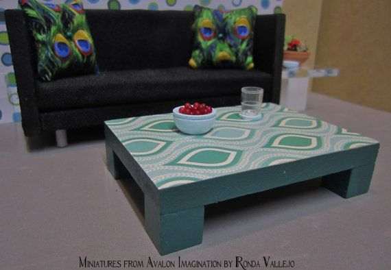 1 12 scale modern dollhouse coffee table in teal with for Peacock coffee table