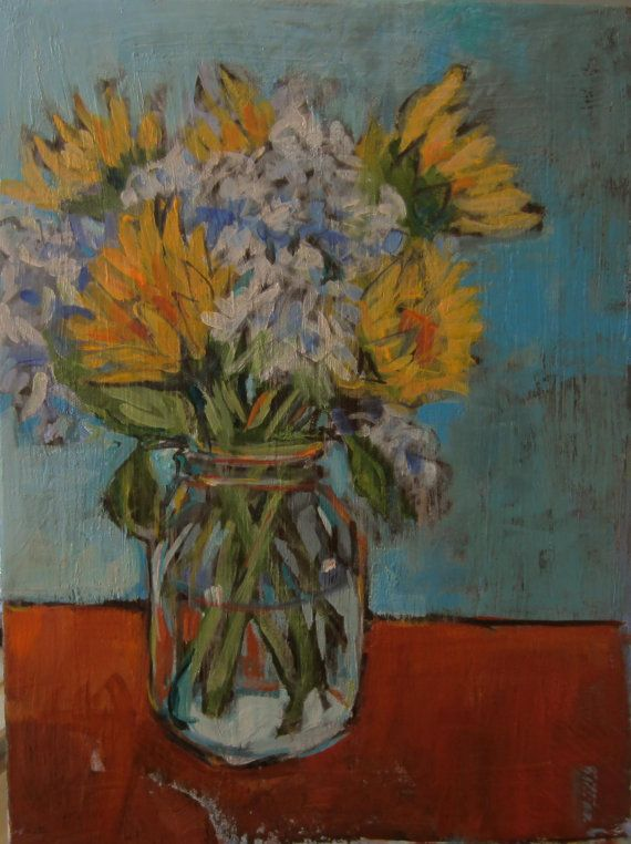 Sunflowers with Hydrangeas  Original Acrylic by TheQuirkyArtisan