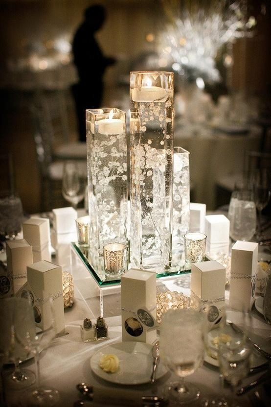 I think I have decided on floating candles as centerpieces...I want something like this, but with a touch of blue!