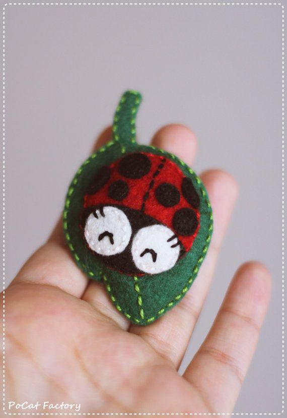 """Happy felt """"ladybug on a leaf"""" brooch by PoCat Factory"""