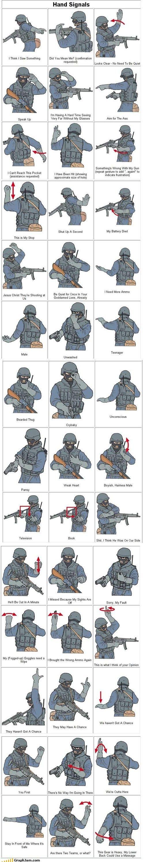 SWAT hand signal.... - http://www.survivalacademy.co/