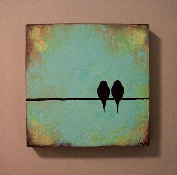 DIY Bird Silhouette Canvas; Layer canvas with choice paint, allowing each layer to dry before painting the next. Lightly sketch and use ruler to measure line, and sketch bird outlines. Fill with black paint.
