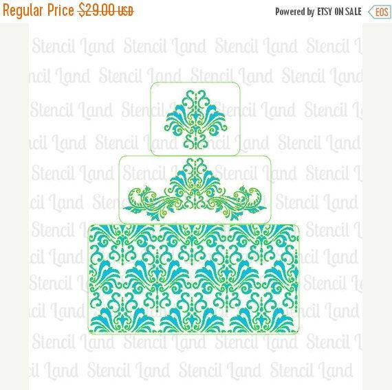 ON SALE Chic Damask Cake stencils 3 pieces   cake by Stenciland