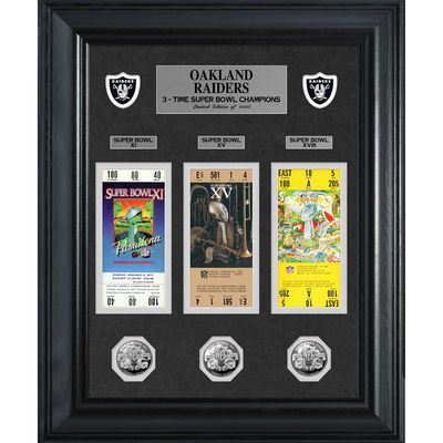 Oakland Raiders Super Bowl Ticket and Game Coin Collection Framed