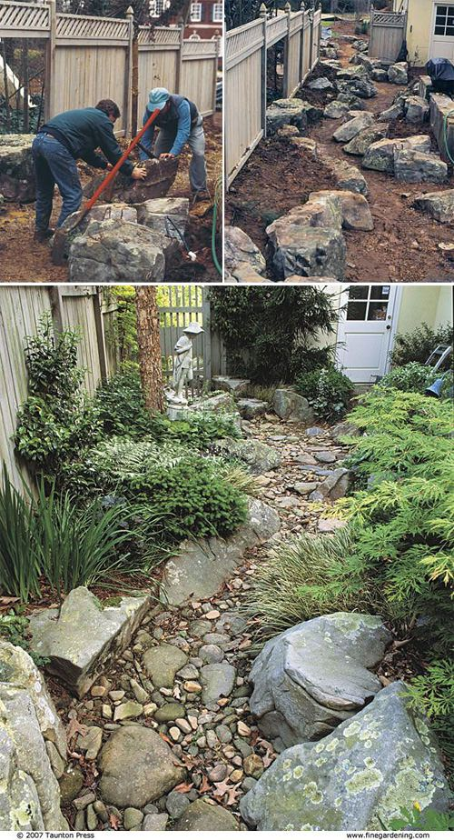 DIY Dry #Creek Beds | Couple tutorials linked. | Good tip: add large stones at the insides of bends.