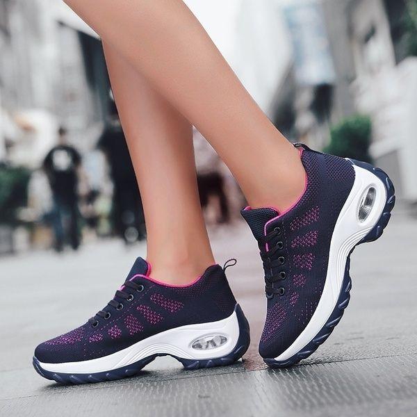 Women S Walking Shoes Casual Sneakers Knit Mesh Air Cushion Running Shoes Lady Girls Platform Shoes Wish Walking Shoes Women Casual Sneakers Women Sneakers Fashion