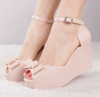 Free Shipping Wedges Sandals Melissa Jelly Sandals Bow Open Toe High heeled Shoes Candy Color Platform Shoes Woman Fashion 2014-inSandals f...