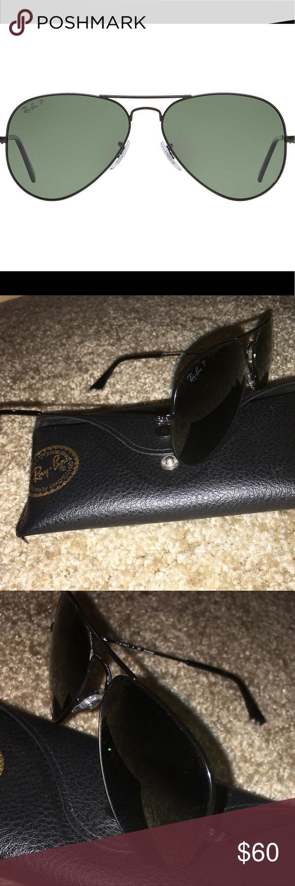 Ray-Bans Classic Aviators- Polarized Like new/excellent condition. Color and logo are both matte black. *SUNGLASSES ARE POLARIZED* Classic Ray-Bans size- 62 mm. Sunglass case will be provided with purchase. Will also clean the lenses prior to shipping. Offers welcomed 😊 Ray-Ban Accessories Sunglasses