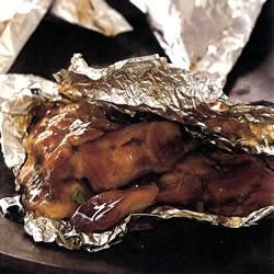 """Foil-Baked Chicken When I was growing up, Chinese food restaurants used to be fairly authentic, and I remember having these """"Sterling Chicken"""" bites...delectable! This sounds so close!"""