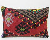 16x24 midcentury kilim pillow red throw pillow black decorative pillow western throw pillow bed cushion cover moroccan cushion cover 24268