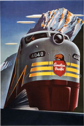 Canadian Pacific Railway, circa 1950. A Canadian Pacific engine underway with mountains in the background. Illustrated by Peter Ewart. Pinned by Ignite Design & Advertising, Inc. www.clickandcombust.com