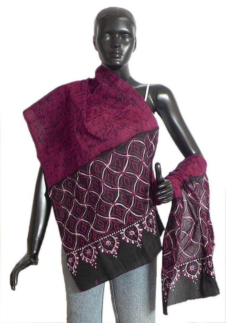 Red, White and Black Cotton Batik Scarf (Cotton Cloth)