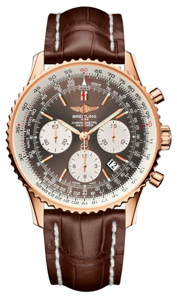 @breitling  Watch Navitimer 01 Limited Edition #bezel-bidirectional #bracelet-strap-crocodile #brand-breitling #case-depth-14-25mm #case-material-rose-gold #case-width-43mm #chronograph-yes #date-yes #delivery-timescale-7-10-days #dial-colour-brown #gender-mens #limited-edition-yes #luxury #movement-automatic #official-stockist-for-breitling-watches #packaging-breitling-watch-packaging #style-sports #subcat-navitimer #supplier-model-no-rb012012-q606-739p ...