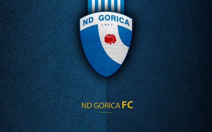 Download wallpapers ND Gorica, 4k, Slovenian football club, emblem, leather texture, PrvaLiga, Nova Gorica, Slovenia, Slovenian First Football League, football