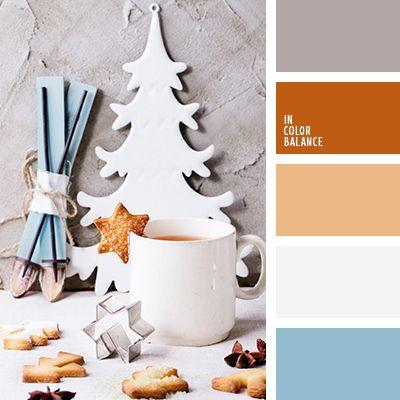 Цветовая палитра №2540 голубой, коричневый, небесный голубой, Новогодняя палитра, оранжевый, оттенки оранжево-коричневого, Рождественская палитра, светло серый, серо-коричневый, серый, цвет бетона, цветовое решение для Нового года. Чудесное сочетание теплого оранжевого и холодного небесно-голубого цветов. Они прекрасно контрастируют со светлыми, пастельными тонами. В такой палитре прекрасно будет смотреться интерьер детской комнаты, гостиной, кухни.