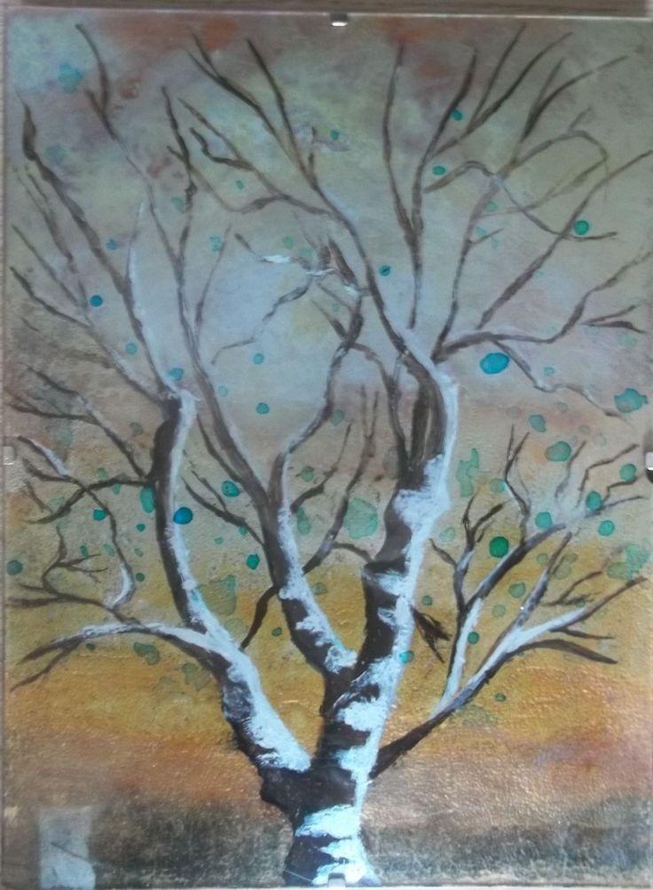 Tableau peinture sur verre inversée (ou sous verre fixée) arbre reflets argentés in Art, antiquités, Art du XXème, contemporain, Peintures   eBay