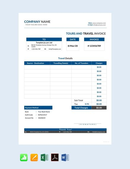 Free Tour and Travel Invoice Places to visit Pinterest Invoice