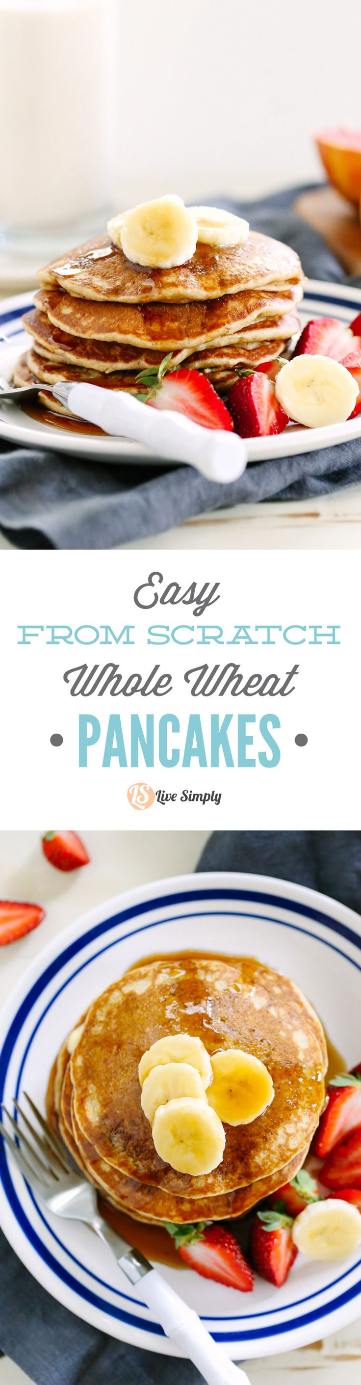 """From scratch"" whole wheat pancakes that taste amazing! No boxed ingredients, just healthy real food. Love this. Make in advance and freeze the extras for busy mornings."