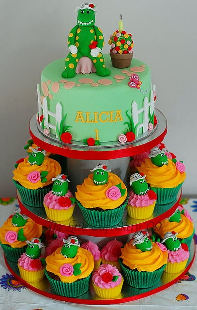 Dorothy the Dinosaur Cupcake Tower by TheLittleCupcakery, via Flickr