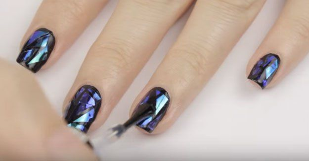 Tips & Tricks to Making Manicures Last | DIY Shattered Glass Nail Art Tutorial, check it out at http://makeuptutorials.com/diy-shattered-glass-nail-art-tutorial/