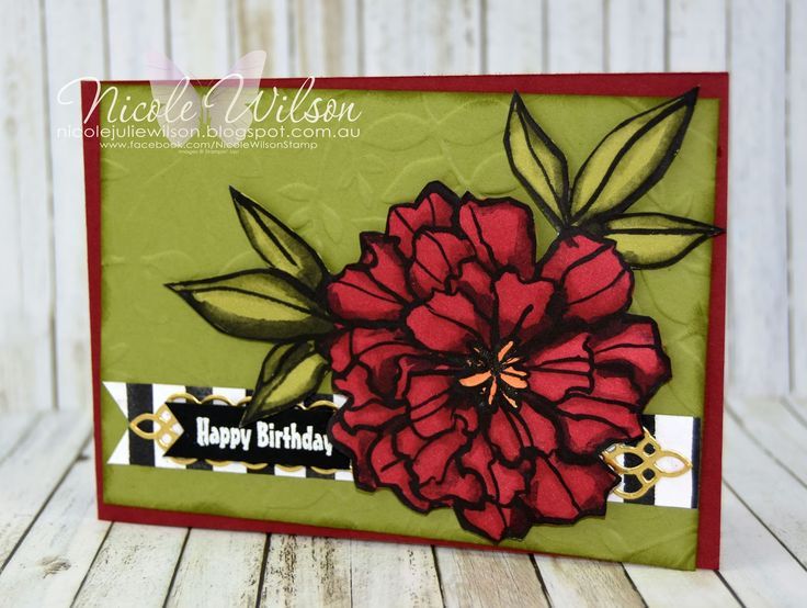 Nicole Wilson Independent Stampin' Up!® Demonstrator - Occasions & Saleabration sneak peek - Petal Passion birthday card, Cherry cobbler, Old Olive with black and white #stampinup #occasions #saleabration #birthday #blends #2018
