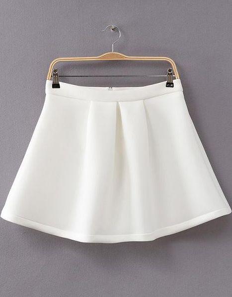 White Flare Skirt - Sheinside.com