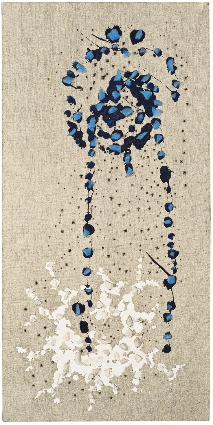 """Lucio Fontana """"Concetto Spaziale"""", w/ glass stones on canvas c. 1955"""