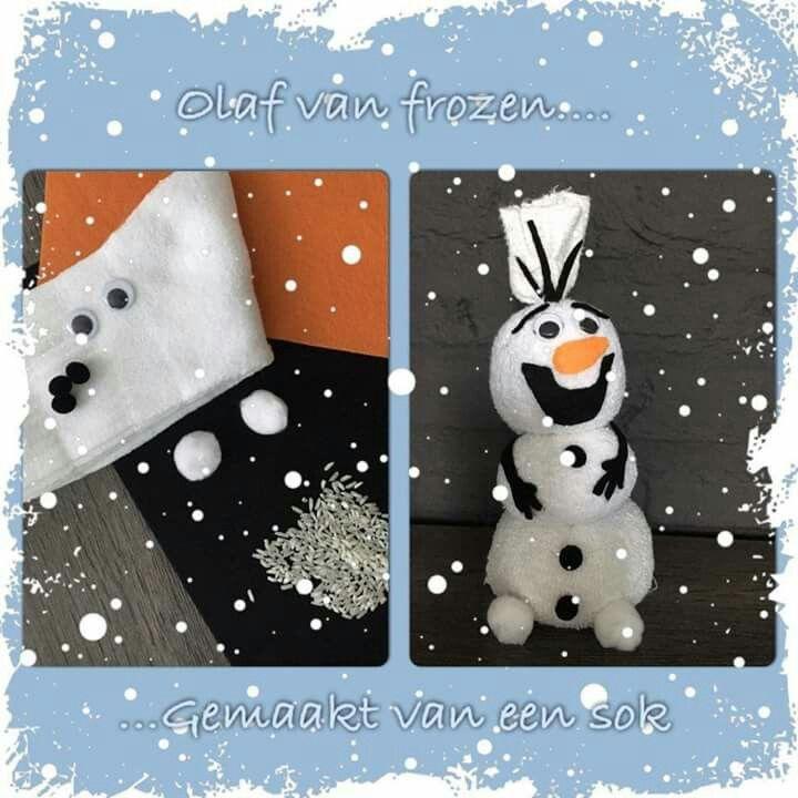 OLAF van Frozen  Gemaakt van witte sportsok gevuld met rijst. In 3 delen gemaakt dmv draadjes wol. Pomponnetjes wit en zwart in 2 maten. Wiebeloogjes. Knutselvilt voor neus, mond, wenkbrauwen, armen en haren. Textiellijm.
